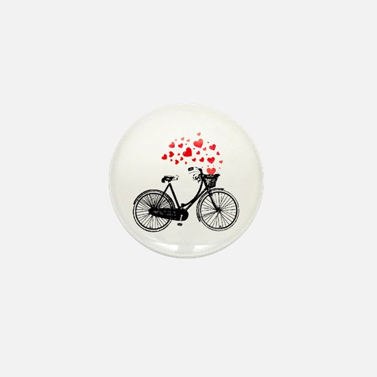 Vintage Bike with Hearts Mini Button