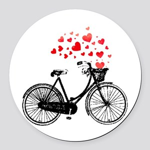 Vintage Bike with Hearts Round Car Magnet