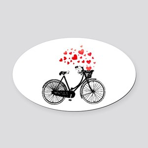 Vintage Bike With Hearts Oval Car Magnet