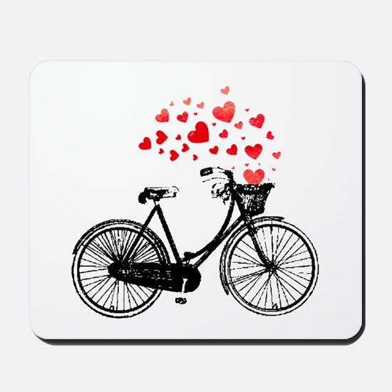 Vintage Bike with Hearts Mousepad