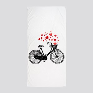 Vintage Bike with Hearts Beach Towel