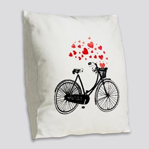 Vintage Bike with Hearts Burlap Throw Pillow