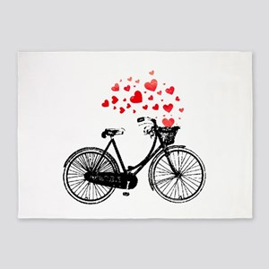 Vintage Bike with Hearts 5'x7'Area Rug