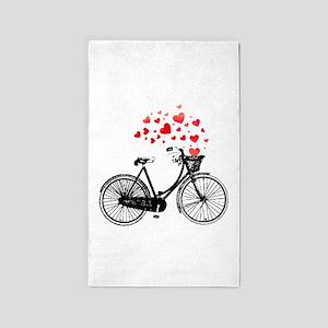 Vintage Bike with Hearts Area Rug