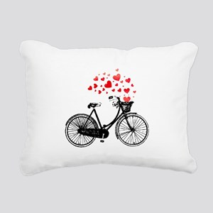 Vintage Bike with Hearts Rectangular Canvas Pillow