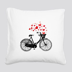 Vintage Bike with Hearts Square Canvas Pillow
