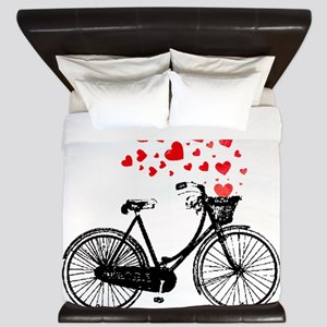 Vintage Bike with Hearts King Duvet