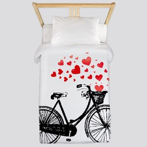 Vintage Bike with Hearts Twin Duvet