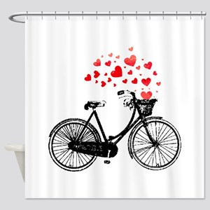 Vintage Bike with Hearts Shower Curtain
