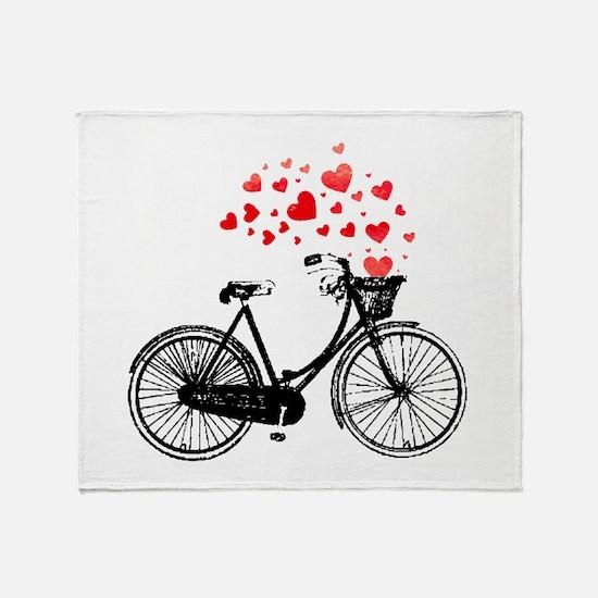 Vintage Bike with Hearts Throw Blanket