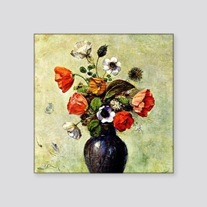 """Anemones and Poppies in a V Square Sticker 3"""" x 3"""""""