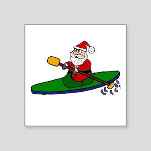 Santa Claus Kayaking Christmas Art Sticker