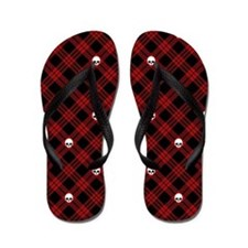 skull-plaid-red_sb Flip Flops