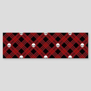 skull-plaid-red_sb Bumper Sticker