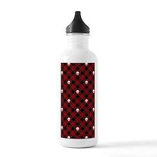 skull-plaid-red_sb Water Bottle