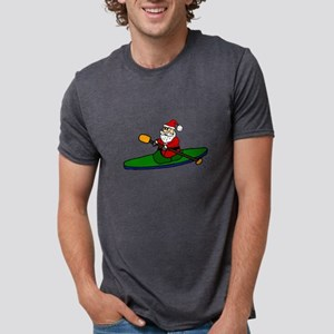 Santa Claus Kayaking Christmas Art T-Shirt