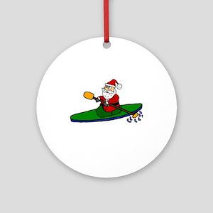 Santa Claus Kayaking Christmas Art Round Ornament