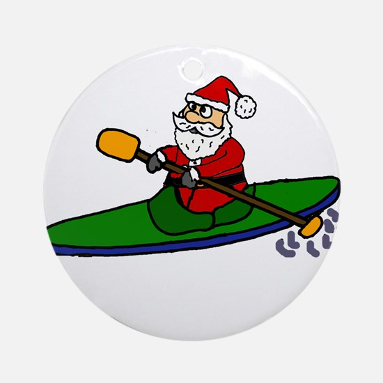 Santa Claus Kayaking Christmas Art Round Ornament