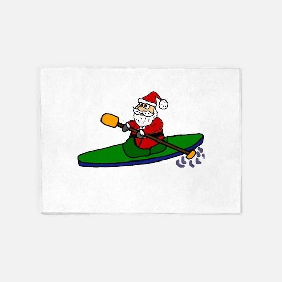 Santa Claus Kayaking Christmas Art 5'x7'Area Rug