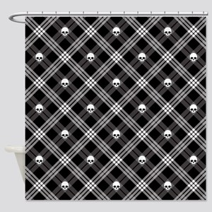 Gothic Skull Plaid Shower Curtain