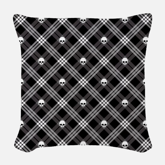 Gothic Skull Plaid Woven Throw Pillow