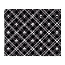 Gothic Skull Plaid Throw Blanket