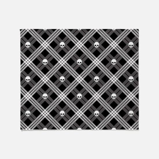 Gothic Skull Plaid Throw Blanket
