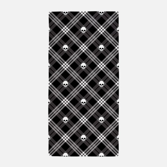 Gothic Skull Plaid Beach Towel