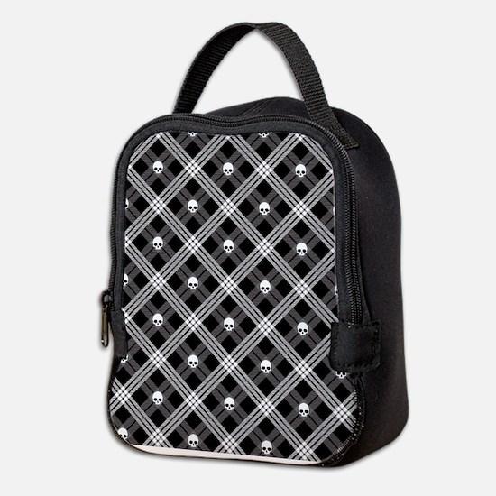 Gothic Skull Plaid Neoprene Lunch Bag