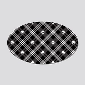 Gothic Skull Plaid 20x12 Oval Wall Decal