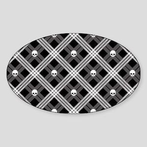 Gothic Skull Plaid Sticker (Oval)