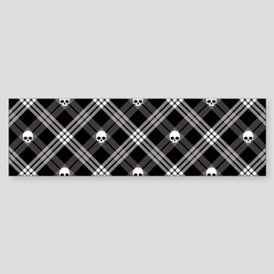 Gothic Skull Plaid Sticker (Bumper)