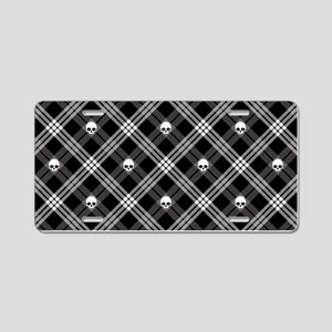 Gothic Skull Plaid Aluminum License Plate