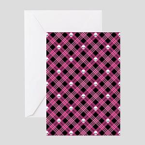 Pink Skull Plaid Greeting Card
