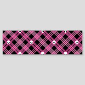 Pink Skull Plaid Sticker (Bumper)