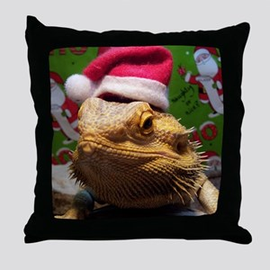 Beardie Santa Hat Throw Pillow