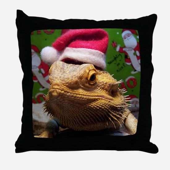 Beardie Santa Hat Throw Pillow
