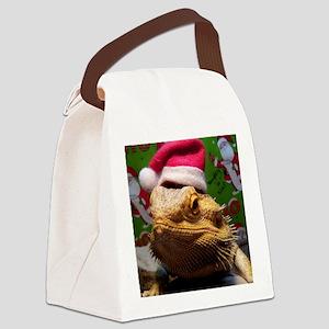Beardie Santa Hat Canvas Lunch Bag