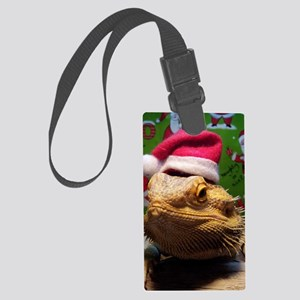 Beardie Santa Hat Large Luggage Tag