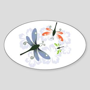 Dragonfly Oval Sticker