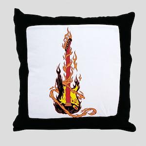 Flaming Guitar Throw Pillow