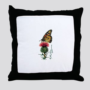 Monarch Butterfly and Thistle Throw Pillow