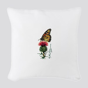 Monarch Butterfly and Thistle Woven Throw Pillow