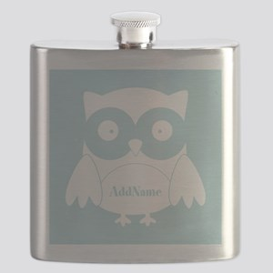Light Blue Cartoon Owl Personalized Flask