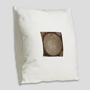 Old New Orleans Meter Lid Burlap Throw Pillow