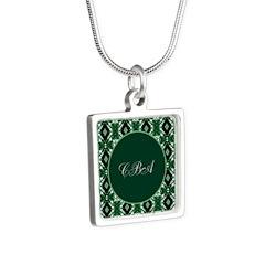Emerald Isle Monogram Silver Square Necklace