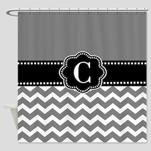 Gray Black Chevron Monogram Shower Curtain