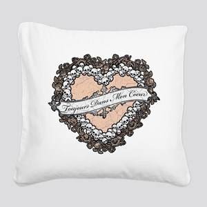 Gothic Skull And Flower Heart Square Canvas Pillow