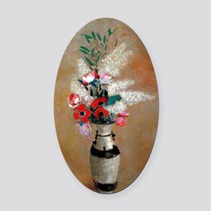 Redon - Bouquet with White Lilies Oval Car Magnet