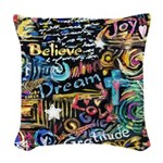 Abstract-Believe 1 Woven Throw Pillow